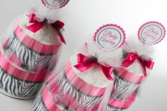 Diaper Cake Set - Hot Pink and Zebra - Personalized - Two Tier Mini Diaper Cakes - Baby Shower Centerpieces - Was 135.00 Dollars - 50% OFF.