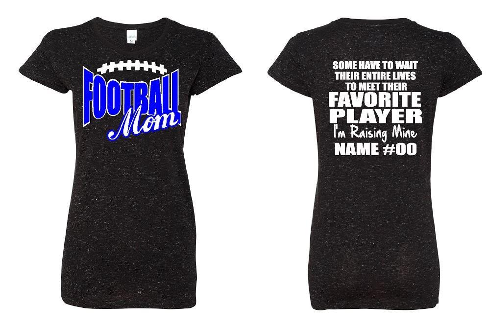 Football Mom Glitter Shirt Custom Name Number And Glitter