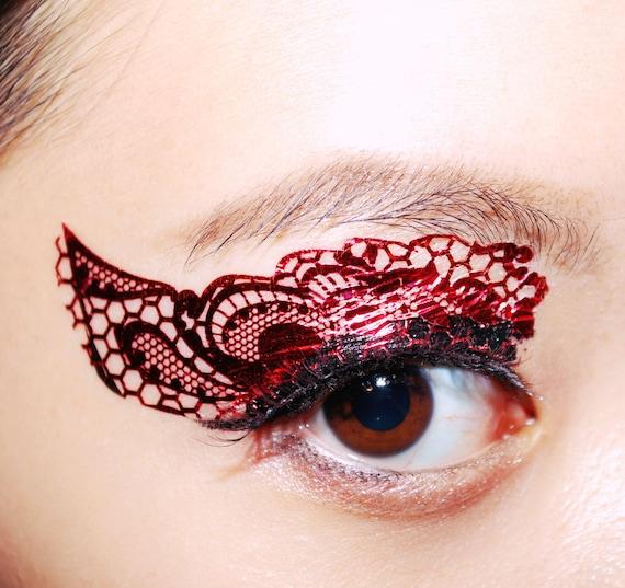 1 pair metallic red lace eye temporary tattoo makeup eyeshadow for Eye temporary tattoo makeup