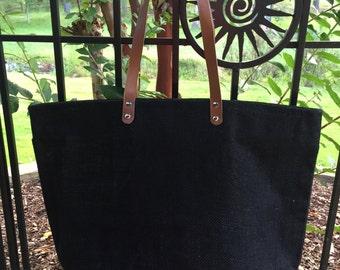 NEW!!  BLACK Jute Zipper Tote, Reuseable Grocery Bag, Beach Bag, Carryall, Monogrammed Tote and More!