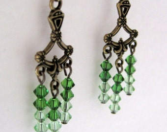 Green Chrystal Chandelier Earrings; Green Ombre Earrings