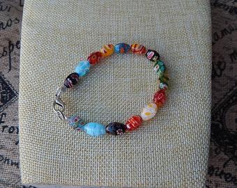 Multi-colored beaded bracelet glass lampwork bead bracelet