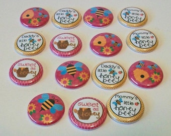 Set of Bright Pink and Yellow Little Honey Bee 1 Inch Flat Back Embellishments Buttons Flair Great for Bow Making
