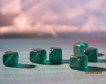 Teal Translucent Cubes Diagonial Drilled Beads