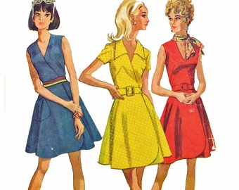60s Dress Pattern / McCalls 9635 Wrap Dress Pattern / Mod Sleeveless Dress / Full Skirt Summer Dress Vintage Sewing Patterns Bust 36