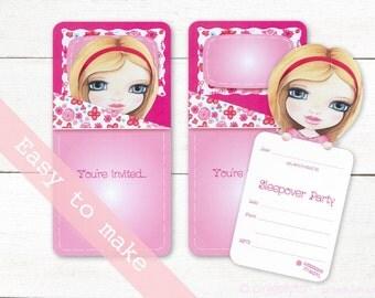 sleepover invitation, slumber party invite, Pjama Party invite, sleepover invite, printable, 3D, sleeping bag, pink,