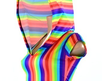 Rainbow Print Cap Sleeve Crop Hoodie made from UV Glow Lycra Spandex Rave Festival 151259