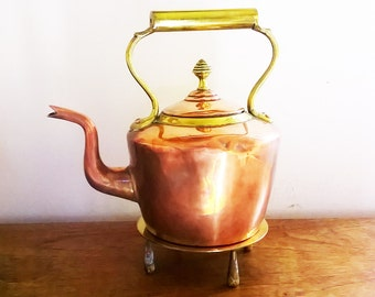 Charming Old Copper and Brass Kettle with Brass Stand