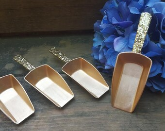 Gold wedding candy buffet scoops, rustic wedding favors, vintage shabby chic wedding, country wedding, set of 4