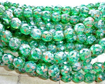 10 x 8 mm Emerald Green Round Faceted Picasso Czech Glass Beads