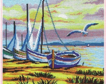 BOATS On THE SHORE Complete Stitching Materials