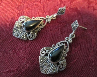 Beautiful Vintage Onyx and Marcasite Sterling Silver Earrings for Pierced Ears