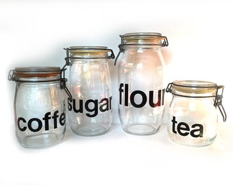 Vintage Kitchen Cannister Set Glass Jar Triomphe France Typography 1970s