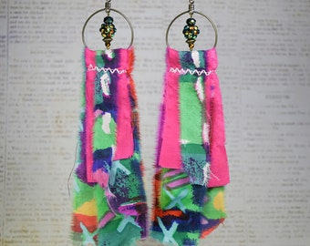 Upcycled Silk Earrings, Boho Hippie Style, Wild Jewelry
