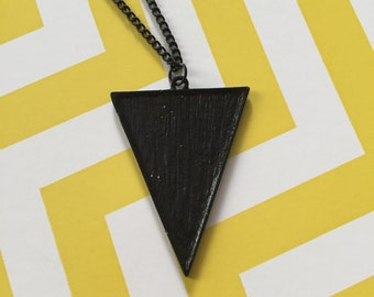 Black Triangle Necklace, Triangle Necklace, Black Triangle, Triangle, Triangle Jewelry, Black Necklace, Black Jewelry, Necklace