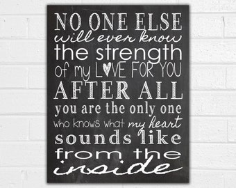 No One Else Will Ever Know Print - Strength of My Love - New Baby Gift - Baby Shower Gift - Nursery Decor - Baby Shadow Box - Baby Book