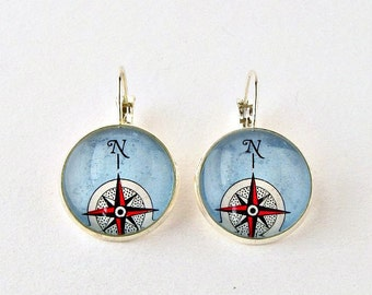 Compass Earrings / Compass Jewelry / Compass Rose Earrings / Sailing Gifts for Women / Thank You Gift for Mentor / Retirement Gift for Her