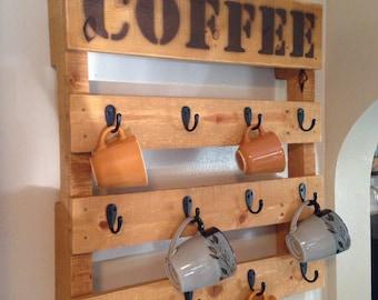 Pallet wood coffee rack