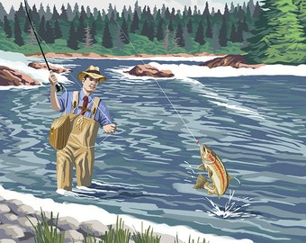 Fly Fisherman - Ketchikan, Alaska (Art Prints available in multiple sizes)
