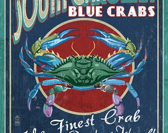 Pawleys Island, South Carolina - Blue Crabs Vintage Sign (Art Prints available in multiple sizes)