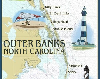 Outer Banks, North Carolina - Nautical Chart (Art Prints available in multiple sizes)
