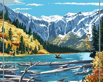 Avalanche Lake - Glacier National Park, Montana (Art Prints available in multiple sizes)