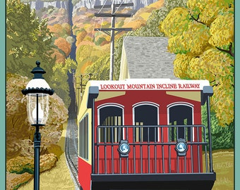 Chattanooga, Tennessee - Lookout Mountain Incline Railway (Art Prints available in multiple sizes)