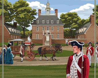 Williamsburg, Virginia - Governor's Palace in Spring (Art Prints available in multiple sizes)
