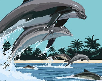Florida - Dolphins Jumping (Art Prints available in multiple sizes)