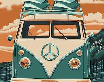 Virginia Beach, Virginia - VW Van Letterpress (Art Prints available in multiple sizes)