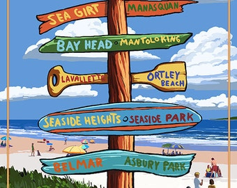 Point Pleasant Beach, New Jersey - Destinations Signpost (Art Prints available in multiple sizes)