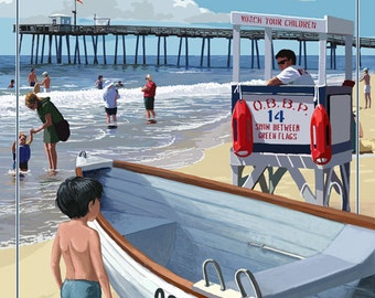 Ocean Beach, New Jersey - Lifeguard Stand (Art Prints available in multiple sizes)