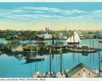 Gloucester, Massachusetts - Panoramic Aerial View of the Harbor and Rocky Neck (Art Prints available in multiple sizes)
