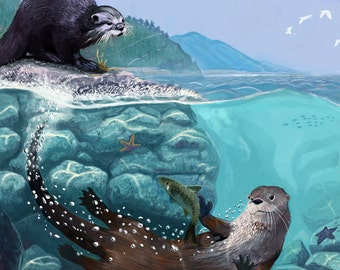 River Otters - Underwater Scene (Art Prints available in multiple sizes)