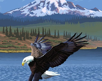 Lake George, New York - Eagle Fishing (Art Prints available in multiple sizes)