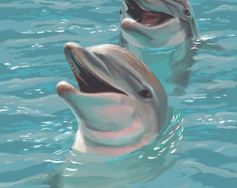 Oak Island, North Carolina - Dolphins Swimming (Art Prints available in multiple sizes)