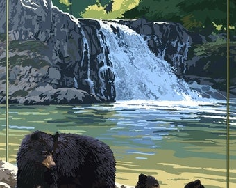 Glacier National Park - Bear Family and Waterfall (Art Prints available in multiple sizes)