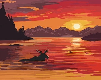 Alaska - Moose Swimming and Sunset (Art Prints available in multiple sizes)