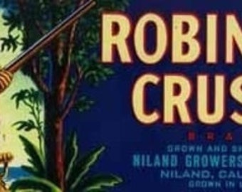 Robinson Crusoe Melon Label (Art Prints available in multiple sizes)