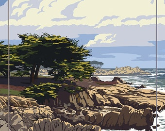 Carmel-by-the-Sea, California - View of Cypress Trees (Art Prints available in multiple sizes)