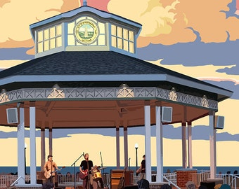 Rehoboth Beach, Delaware - Bandstand (Art Prints available in multiple sizes)