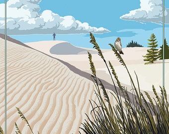 Los Osos, California - Sand Dunes Day Scene (Art Prints available in multiple sizes)