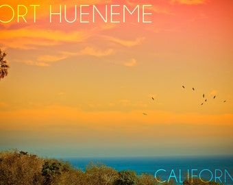 Port Hueneme, California - Sunset and Birds (Art Prints available in multiple sizes)