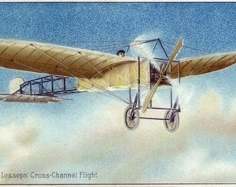 View of Jacques de Lesseps' Cross Channel Flight (Art Prints available in multiple sizes)
