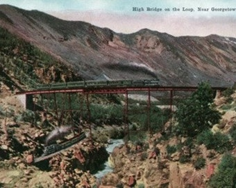 Colorado - View of the High Bridge Railroad Loop near Georgetown (Art Prints available in multiple sizes)