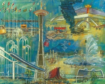 Space Needle World's Fair Seattle Center Poster (Art Prints available in multiple sizes)
