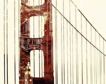 Golden Gate Bridge Double Exposure - San Francisco, CA (Art Prints available in multiple sizes)