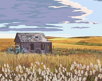 Missouri - Wheat Fields and Homestead (Art Prints available in multiple sizes)