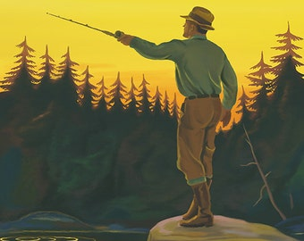 Couer D'Alene, Idaho - Fly Fishing Scene (Art Prints available in multiple sizes)