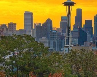 Seattle, Washington - Sunrise over City (Art Prints available in multiple sizes)